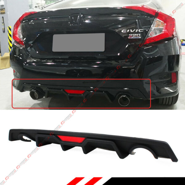 For 2016 2018 Honda Civic 4dr Sedan JDM Rear Bumper DiffuserLED 3rd Brake Light