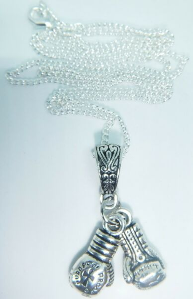 ANTIQUE SILVER BOXING GLOVES ON A 22'' STERLING SILVER CURB CHAIN FREE GIFT BAG