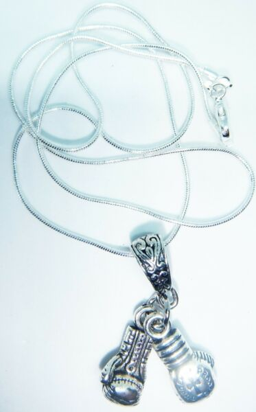 ANTIQUE SILVER BOXING GLOVES ON A 20'' STERLING SILVER SNAKE CHAIN FREE GIFT BAG