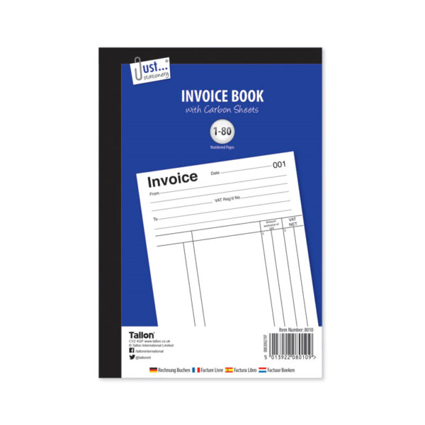 A5 Invoice Book With Carbon Sheets 1 80 Numbered Pages Full Size 8010 GBP 2.99