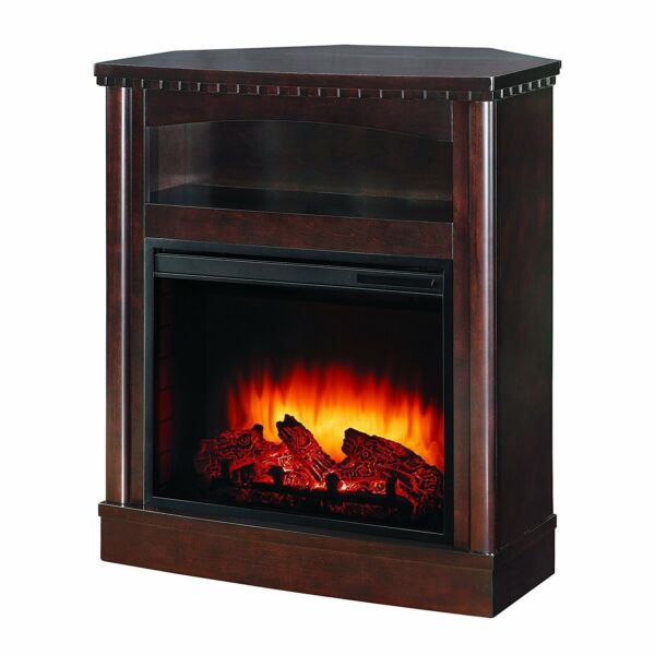 Pleasant Hearth Compact WallCorner Media Fireplace Mocha Finish TV Stand