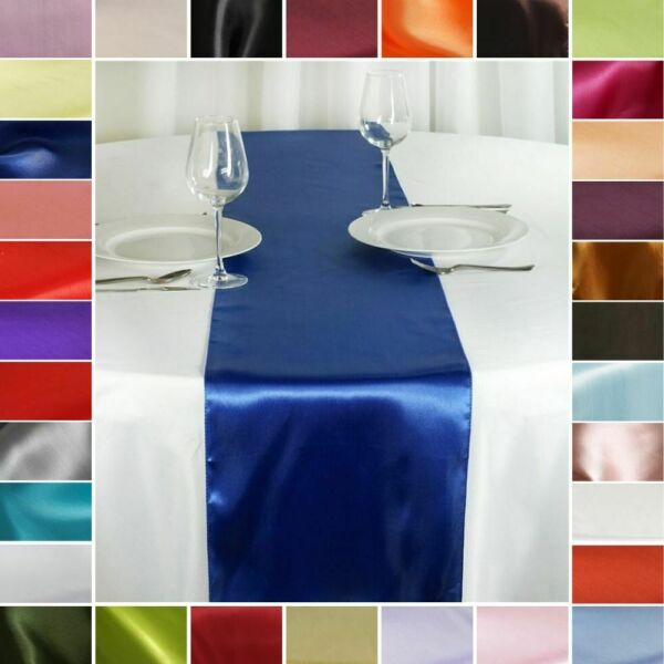 10 pcs SATIN 12x108quot; Table RUNNERS Wedding Party Reception Catering Decorations