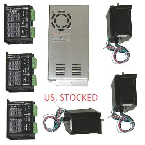 US Shipping 3 Axis CNC Kit 425oz.in Nema 23 Stepper Motor & KL-5042E Driver
