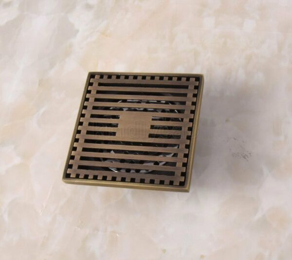 Antique Brass Square Bathroom Floor Drain Square Grate Waste Drainer Khr034