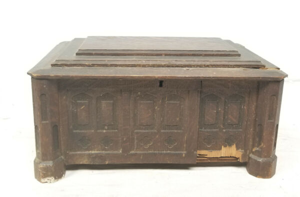 Antique German Austrian Style Black FOrest Carved Gothic Style Casket Chest As I