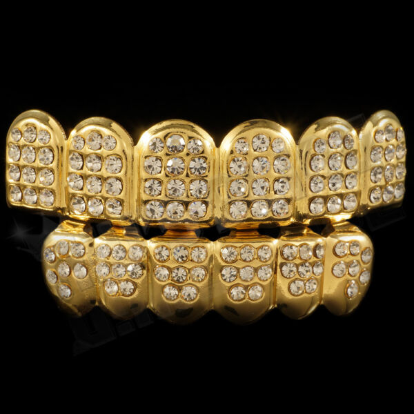 14K Gold Plated Bling Out ICED CZ Teeth GRILLZ Top Bottom Tooth Caps Hip Hop NEW