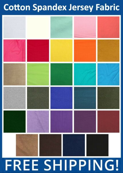 Cotton Spandex Jersey Fabric - Many Colors - 60