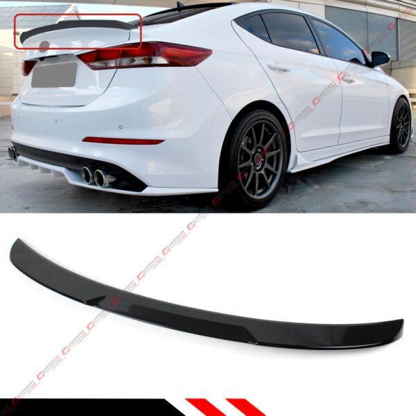 For 2017 18 Hyundai Elantra Painted Glossy Black H Style Trunk Lid Spoiler Wing $61.99