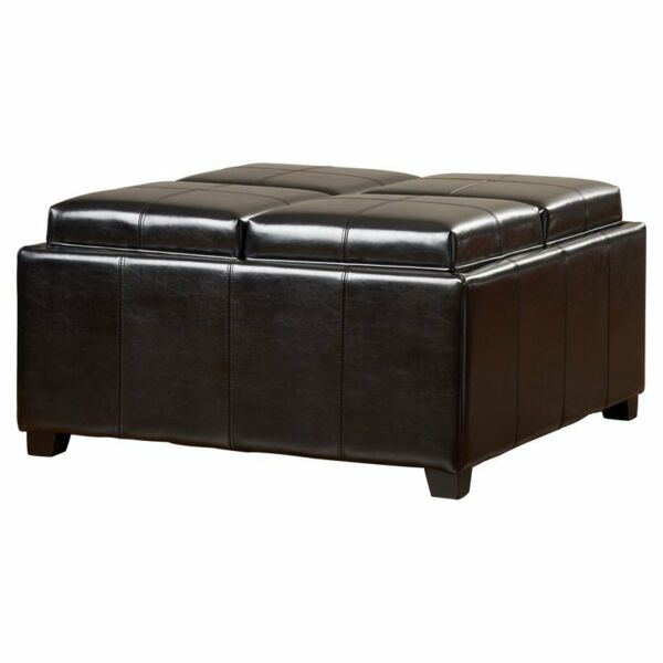 4-Tray-Top Black Faux Leather Storage Ottoman Coffee Table