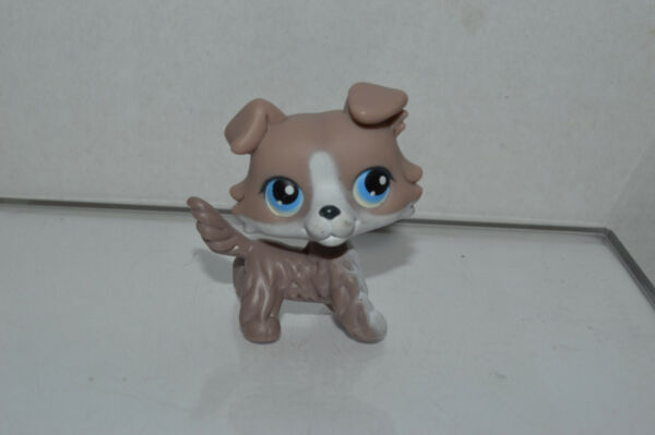 Littlest Pet Shop #67 Collie Gray White Puppy Dog Blue Eyes Red Magnet Authentic $24.99