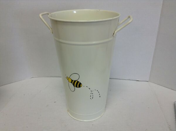 Bumble Bee Garden Vase Bucket Urn Flower Pot Planter Pail wine ice handles white
