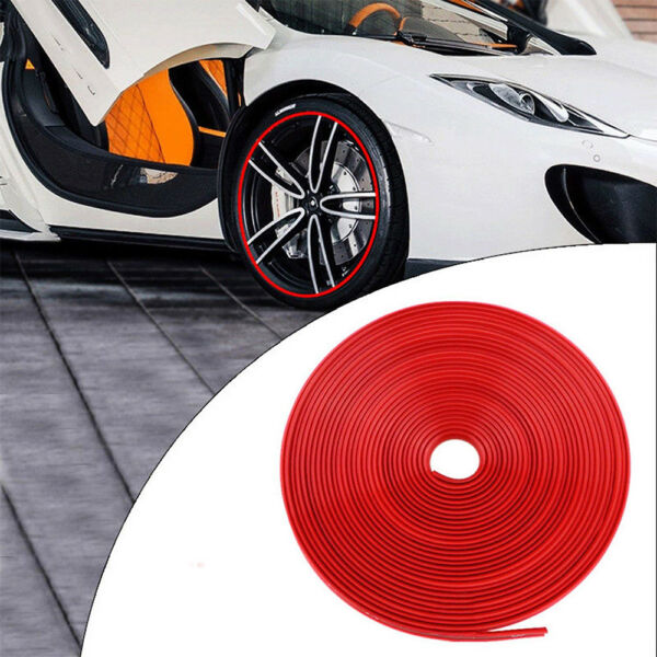 26FT/8M Car Wheel Hub Rim Trim Edge Protector Ring Tire Strip Guard Sticker Red