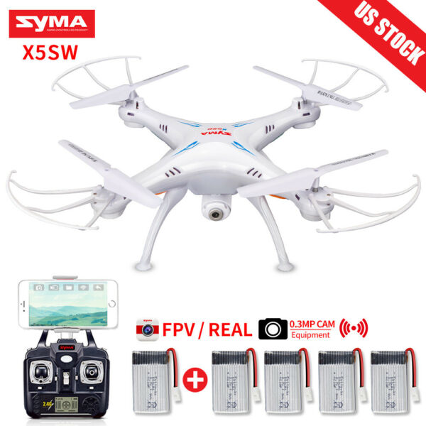 5 Batteries Syma X5SW RC Quadcopter Drone WIFI FPV 2.4G 720P Camera RTF Genuine