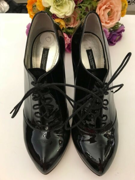 ❤️Dolce amp; Gabbana Women#x27;s Black Patent Leather with Wood Stack Heel❤️