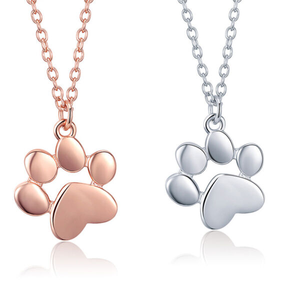 Voroco Dog Paw S925 Sterling Silver Necklace Pet Footprint Charm Chain Jewelry $8.77