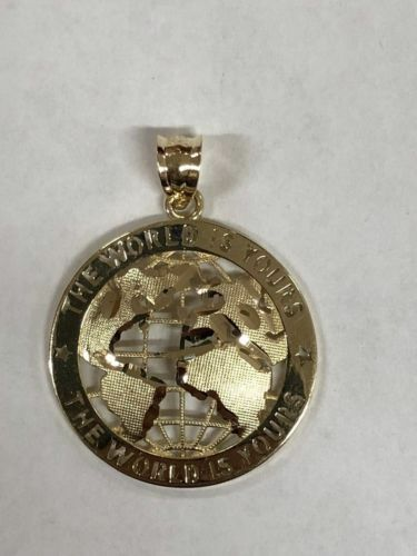 10K SOLID YELLOW GOLD THE WORLD IS YOURS GLOBE PENDENT