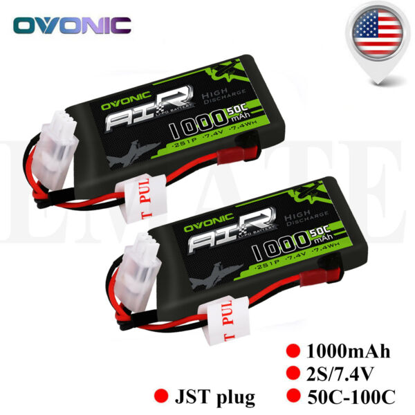 2X Lipo Battery 2S 50C 1000mAh 7.4V JST Plug for Helicopter Quad Airplane Drone