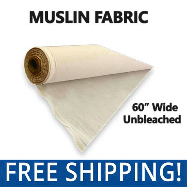 "Muslin Fabric – Natural Unbleached - 100% Cotton – 60"" Wide – Free Shipping!!"