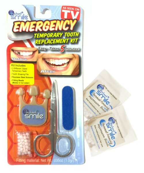 Instant Smile Emergency Temporary Tooth Replacement Kit w 2 Fitting Bead Packs $7.96