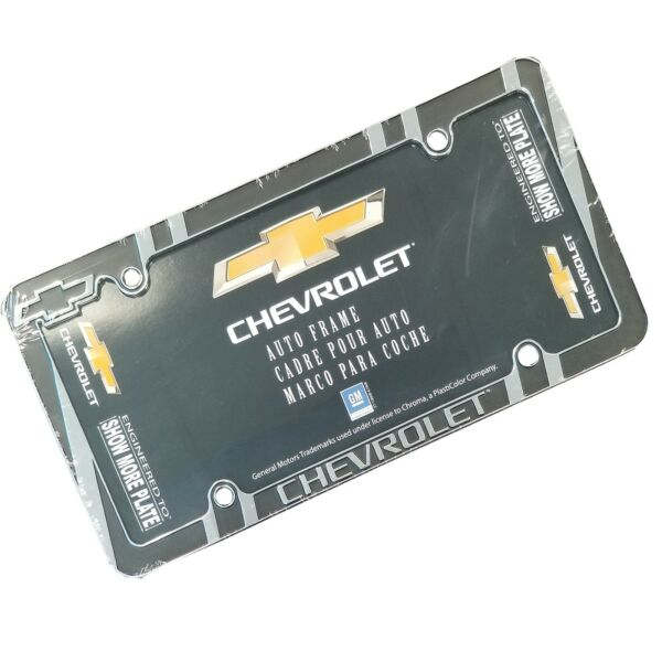 CHEVROLET Chrome & Black Heavy Duty Metal License Plate Frame CHEVY car truck
