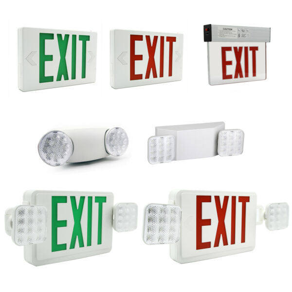 LED Exit Sign Emergency Light RedGreen Compact Combo Fire Safety Battery Backup