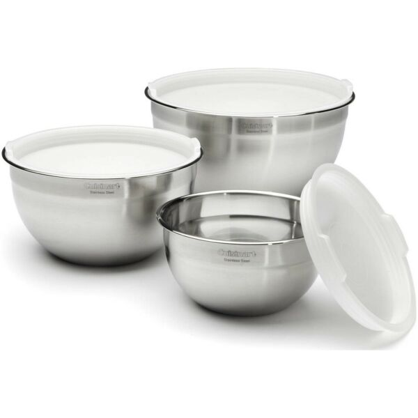 Cuisinart Stainless Steel 3 Piece Bowl Set with Lids