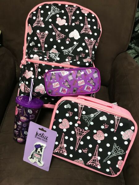 "JUSTICE "" I LOVE PARIS"" BACKPACKLUNCHBOX & 3 ACCESSORIES! BACK TO SCHOOL CUTE!!"