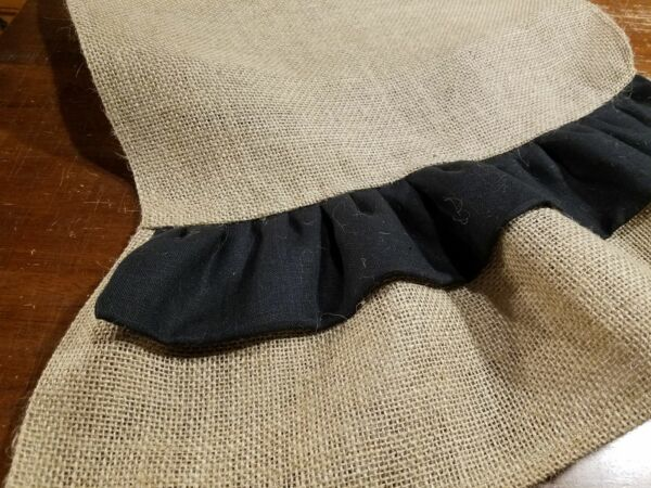 Natural Burlap Table Runner w Black Linen amp; Burlap Ruffles Various Sizes