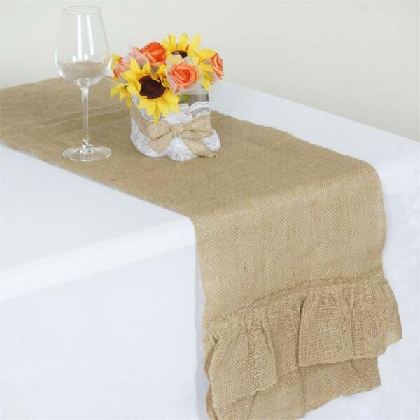 RUFFLED BURLAP TABLE RUNNER 14x108quot; Rustic Natural Wedding Party Catering Sale