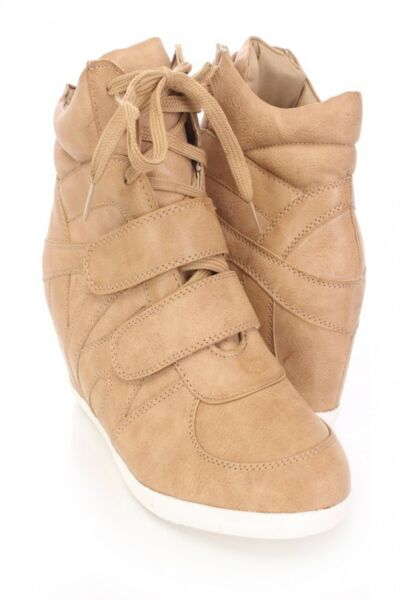 Camel Lace Up Fashion Women Hidden Wedge Heels Shoes increased High Top Sneakers