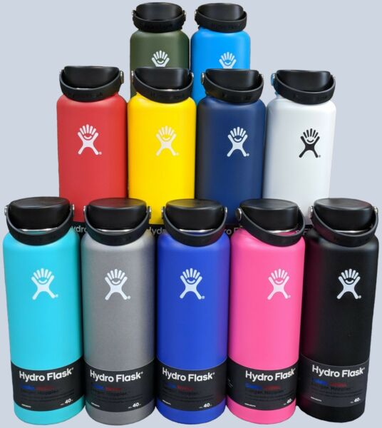 Hydro Flask Wide Mouth Stainless Steel Bottle With Flex Cap 18oz 32oz 40oz 64oz