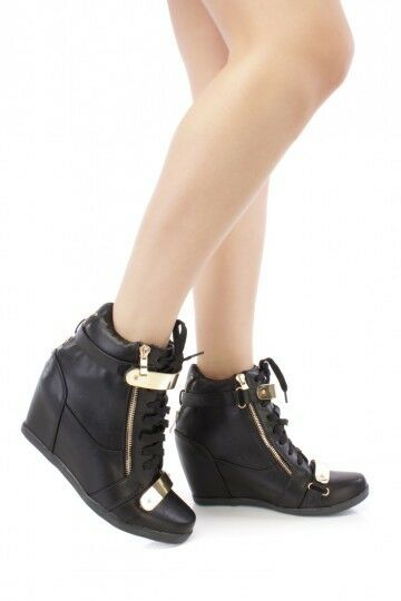 Black Lace Up Fashion Women Hidden Wedge Heels Shoes increased High Top Sneakers