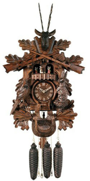 River City Clocks Eight Day Musical Hunter Cuckoo Clock with Dancer Hand Carved