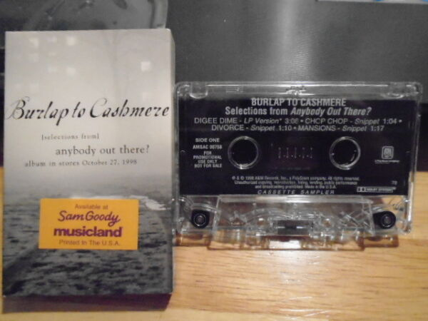 RARE PROMO Burlap to Cashmere CASSETTE TAPE Anybody Out There? sampler folk 1998