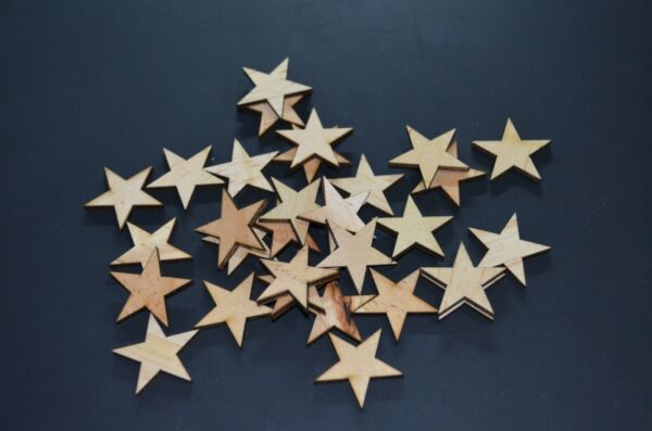 50 Qty Small 1-14 inch Wood Stars Craft Supply Flag Wooden Stars DIY 1.25