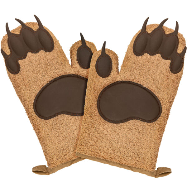 Bear Paw Oven Mitts Set Funny Cute Kitchen GlovesMittensPotholders for Baking