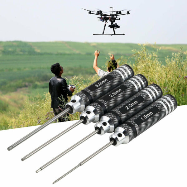 4PCS Hex Screw Driver Tool Kit For RC Helicopter Plane Transmitter Car Black YJ