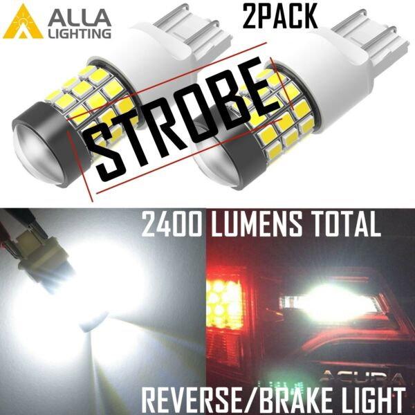 Alla Lighting 7443 Legal Safety LED Strobe Flashing BackupBrakeSignal White 2x
