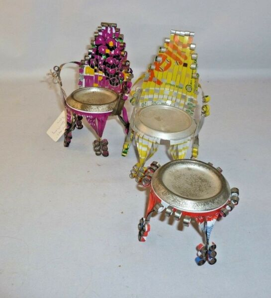 Vintage Tramp Art Tin Can Quilling Set of 2 Chairs & Table
