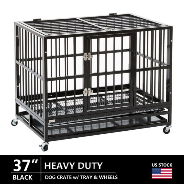 37quot; Black Dog Crate Heavy Duty Large Kennel Folding Cage Playpen w Tray amp; Wheels $195.99