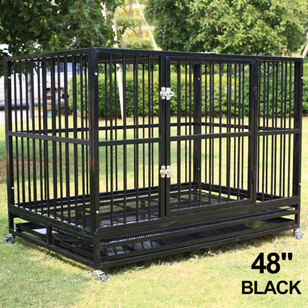 48quot; Dog Crate Large Kennel Heavy Duty Pet Cage w Wheels amp; Tray Black Portable XL $289.99