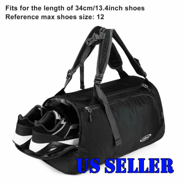 35L Nylon Luggage Bag Travel Backpack Duffle Sports Gym With Shoes Compartment