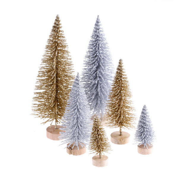3pcs Stand Mini Christmas Tree Small Pine Trees Xmas Gifts Home Desktop Decor