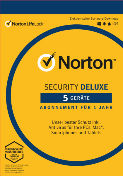 NORTON (Internet) SECURITY DELUXE 5-Geräte/1-Jahr 2018 PC / Mac / Android / KEY