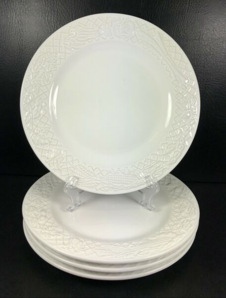 Crate & Barrel Trellis Vegetables Set of 4 White Dinner Plates Made In Portugal