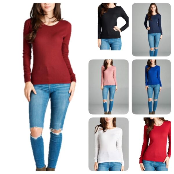 Women Thermal Long Sleeve Solid Waffle Knit T Shirt Top S 3xL Regular amp; Plus