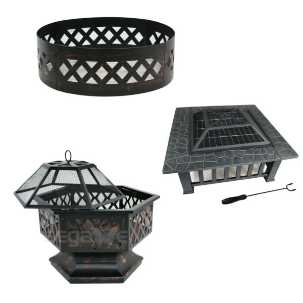 Hex ShapedSquareRound Yard Outdoor Black Portable Steel Fire Pit (Three Shape)