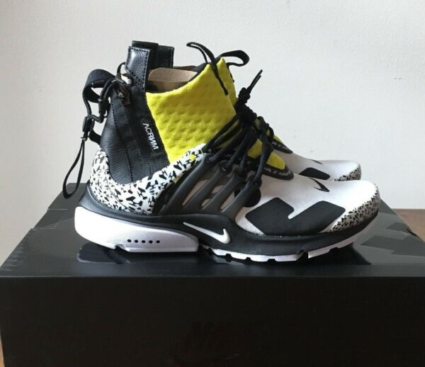 Acronym x Nike Air Presto Mid 4-14 Dynamic Yellow Black White AH7832-100