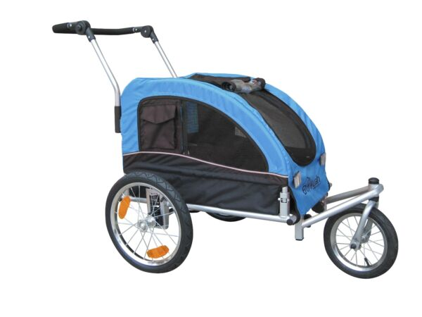 Booyah Medium Pet Bicycle Trailer and Dog Stroller with Suspension Shocks Blue