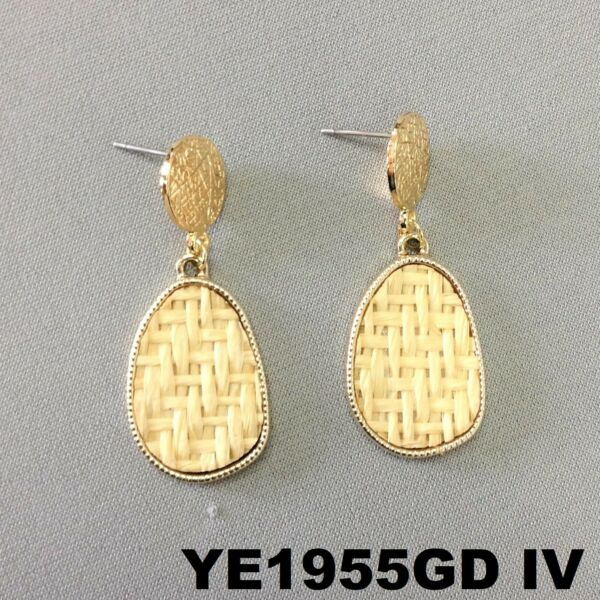 Bohemian Style Dangle Oval Burlap Material Charm Gold Finish Post Stud Earrings